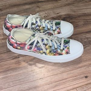Floral Converse Low Top Sneakers Size 8